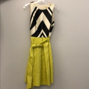 Black & White Chevron and Chartreuse Dress